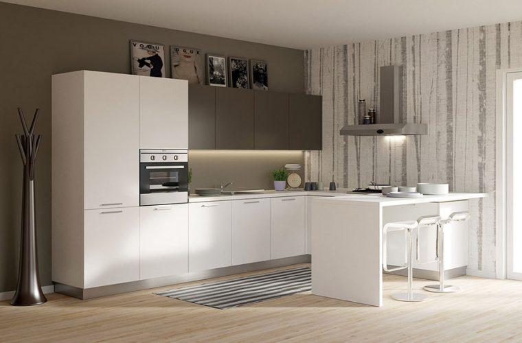 cucina usata con penisola estetica materiali funzionalita